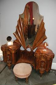 furniture deco. Italian Romanesque Deco Burled Walnut, Bakelite And Brass Vanity With Stool Furniture
