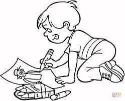 Small Picture Little Boy Drawing a Masterpiece coloring page Free Printable