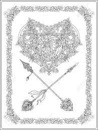 Vettoriale Cuore Decorativo Con Frecce Decorative In Stile Rococò