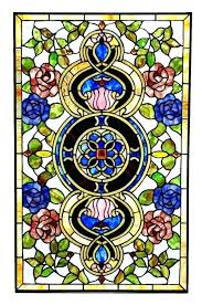 beveled glass window panels red blue roses stained panel stained glass window