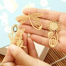 <b>10 pcs</b>/<b>lot</b> Golden Metal Bookmark Beautiful Page Holder <b>Cute</b> Leaf ...