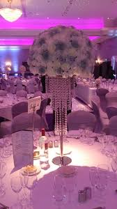 glitzy crystal chandelier wedding centrepiece