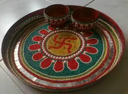 Pooja Ki Thali Design Beautifully Decorated Aarti Thali Diwali Craft