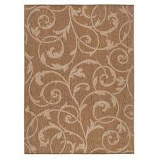 scroll brown beige 8 ft x 10 ft indoor outdoor area rug