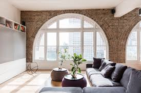 White Cabinets Living Room Living Room Gray And White Exposed Brick Wall Design Living