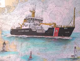 Us Coast Guard Buoy Tender Ida Lewis Cathy Peek Nautical Chart Map Art