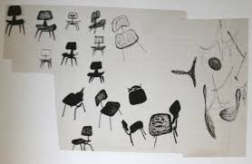 charles and ray eames furniture. Drawing By Ray Eames Of Plywood Chairs, Ink On Paper. Charles And Furniture L