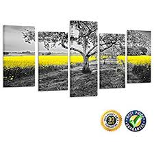 kreative arts 5 panel canvas wall art yellow oilseed rape fields black and white landscape giclee canvas prints artwork pictures paintings on canvas ready  on yellow and grey wall art canvas with amazon wall26 3 piece canvas wall art grey and yellow