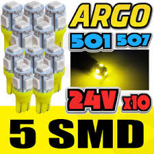 Details About 10 Amber T10 501 24v 5 Led Wedge Base Bulb Lens Cap Auto Lamp Truck Bus Boat Smd