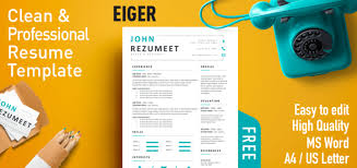 Clean Professional Resume Eiger Clean Professional Resume Template Rezumeet Com