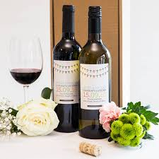 personalised wedding wine gift twin pack