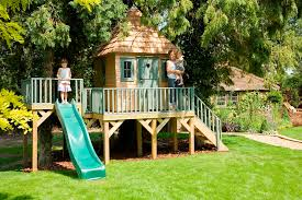childrens timber tree house slide
