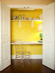 home office for small spaces. Fine Home Yellow Home Office Tucked In Closet On For Small Spaces O