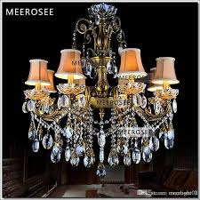 bronze finished antique crystal chandelier lingting luxurious brass crystal lamp re suspension light md8504 l8 d750mm h750mm vintage chandelier