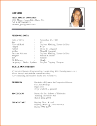 Sample Resume Format For Fresh Graduates One Page Samples Of Cv