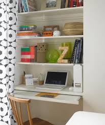 Office Nook - Shelving Unit Transfomed Into Office Space With Curtain  F