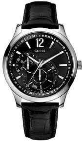 guess u95152g1 black dial stainless steel black leather men s guess u95152g1 black dial stainless steel black leather men s watch
