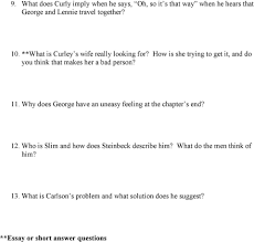 english of mice and men chapter questions pts list 11 why does george have an uneasy feeling at the chapter s end 12