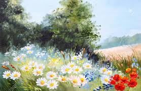oil painting landscape meadow of daisies nature stock photo 35891099