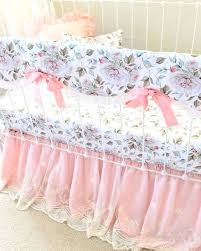 peach crib bedding blush pink and white girls fl crib set princess peach crib bedding