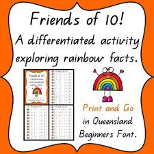 Free Printable Rainbow Facts Chart Friends Of 10 Rainbow Worksheets Teaching Resources Tpt