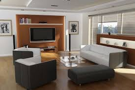 Wooden Cabinets For Living Room Brown Cream Laminated Wooden Cabinet Black Leather Cushion Black