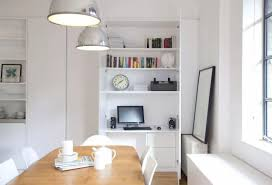 office in dining room. White Decorating For The Dining Room With Working Place In Cupboard Office