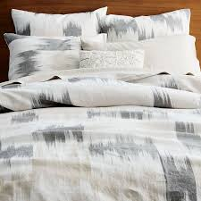 belgian flax linen blurred ikat duvet cover full queen pewter