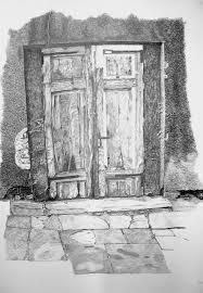 grey door drawing open door pencil drawing o38 pencil