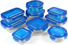 glass food storage container set blue bpa free fda approved reusable