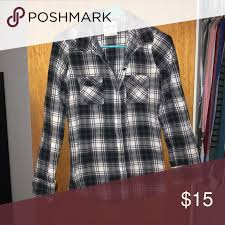 Kirra Flannel Black Grey White Button Down Flannel Kirra