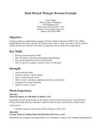 Banking Executive Sample Resume Application Letter Branch Manager