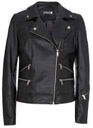 black washed leather biker black washed leather biker