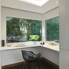 home office modern. Example Of A Mid-sized Minimalist Built-in Desk Carpeted Study Room Design In Home Office Modern