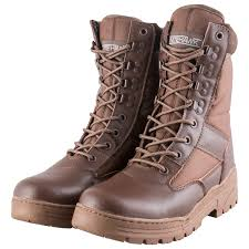 nitehawk army military patrol brown leather combat boots outdoor cadet security