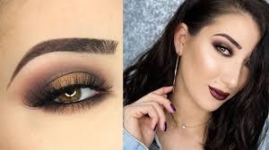 brown halo smokey eye metallic vy lips makeup tutorial