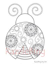 Small Picture DIY Printable Coloring Page Zentangle inspired Lady Bug Swirl