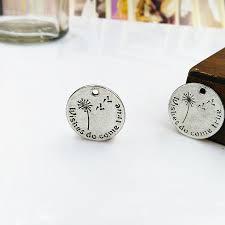 <b>High quality 5 pcs Round</b> Dandelion antique silver pendant Letters ...