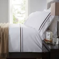 belgravia white duvet cover pillowcase set 100 cotton grey ribbon trim super king