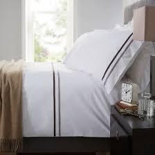 belgravia white duvet cover pillowcase set 100 cotton grey ribbon trim double for