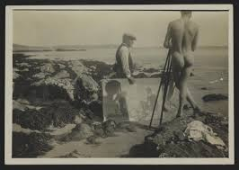 photograph of henry scott tuke holding canvas with donald rolph on newporth beach