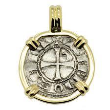 meval antioch crusades coin gold pendant