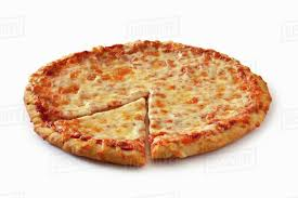 plain cheese pizza. Fine Plain Plain Cheese Pizza Sliced Once On A White Background With Dissolve