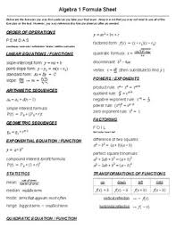 Formula Chart Algebra 2 Algebra Formula Sheet Worksheets Teaching Resources Tpt