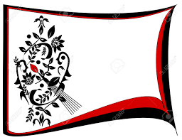 A Border Design In Black And White With Accents Of Red Stock Photo