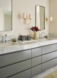 charcoal gray double vanity with thick marble countertops