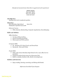 Resume No Work Experience Beauteous Sample Resume No Experience High School Elegant Sample Resume
