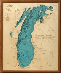 Long Lake Ny Depth Chart Lake Michigan Water Depths Wall Lake Art Topographic Depth