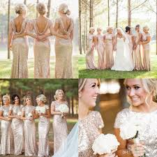 Light Blue Sparkly Bridesmaid Dresses Champagne Gold Sequins Mermaid Bridesmaid Dresses 2018 Short Sleeve Backless Long Beach Wedding Party Dress Fast Shipping Bridesmaids Gowns Champagne
