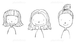 3人の髪型の違う女の子モノクロ線画 イラスト素材 1464537